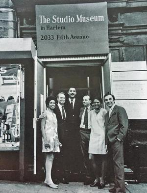Studio Museum in Harlem officials the museum's opening on September 24, 1968 (l-r): Eleanor Holmes Norton, vice president; Carter Burden, president; Charles Innis, director; Campbell Wylly, trustee; Betty Blayton, secretary; Frank Donnelly, vice president