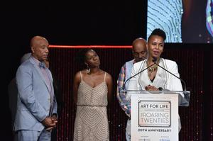 Wangechi Mutu speaking at Art For Life gala