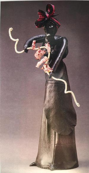 Joyce J. Scott, Out to Dry, 1991, beads. leather, wire, fabric, 20 x 8 x 8