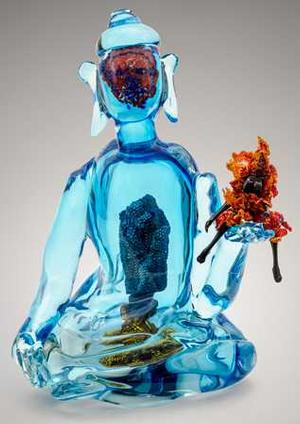 Joyce J. Scott, Buddha (Fire & Water), 2013, hand-blown Murano glass with beads, wire & thread, 19 3/4 x 15 x 11 1/2