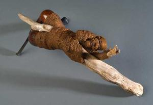 Joyce J. Scott, From the Day After Rape Series: Gatherer of Wood 2009, seedbeads, thread, pipes & drift wood, 7 1/4 x 13 x 3 1/2""