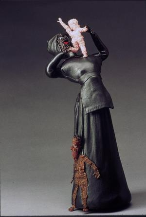 "Joyce J. Scott, No Mommy Me I, 1991, leather and beads, 18 x 7 x 5 ½"", courtesy Susan Hort"