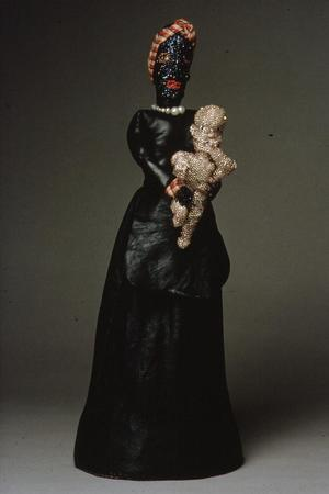 "Joyce J. Scott,  Nanny Now, Nigger Later, 1986, leather, glass beads, fabric, 16 ¼ x 6 ½ x 6"" Courtesy Greg Kucera and Larry Yocom"
