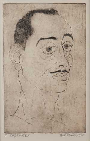 "Hayward Oubre, Self-Portrait, etching, ed: 4/20,  16 x 11"". Third award, 1948 Atlanta University annual exhibition. Collection Clark Atlanta University Art Gallery"