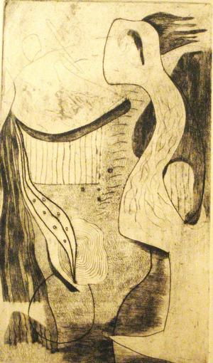 "One of two prints given to Jerry Langley by Hayward Oubre in a gesture of appreciation: Silent Sentinel, etching, 12 x 7"", second award, 1947, Atlanta University annual exhibition. Collection Clark Atlanta University Art Gallery"