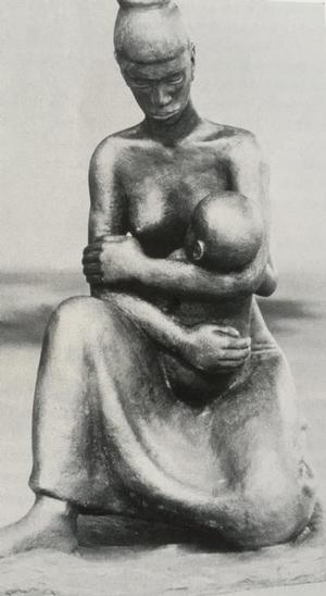 Hayward Oubre, Mother and Child, 1951, bronze