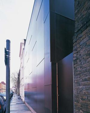 Elektra House, facade and side entrance, Whitechapel, East London, 2000 (Adjaye Associates)