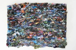 "Sune Woods, From here we go nowhere, 58 x 77"", 2015, mixed media collage"