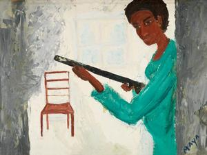 Maya Angelou (1924-2014),The Protector of Home and Family, oil on canvas board, 1969, 18x24""