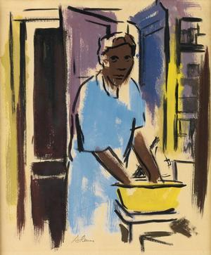 "Samella Lewis (1924 - ), Washerwoman, gouache on cream wove paper, circa 1949, 11x 9"" Courtesy Swann Auction Galleries"