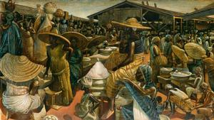 John Biggers, Kumasi Market, oil and acrylic on masonite board, 1962. Courtesy of Swann Auction Galleries