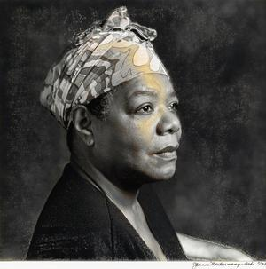 "Jeanne Moutassamy-Ashe (1951 - ) Maya Angelou. Silver print with extensive hand coloring, 1993, 10x10 1/2"". Courtesy of Swann Auction Galleries"