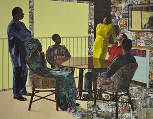 "Njideka Akunyili Crosby, I Still Face You, 2015. Acrylic, charcoal, colored pencils, collage, and Xerox transfers on paper, 84 x 105"". Courtesy of the artist and Victoria Miro, London"