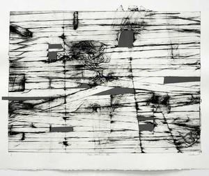 Space Notation 8, 2014, collograph with hand drawn ink and flashe paint on Rives Arches 250 gsm paper,  22 x 30""