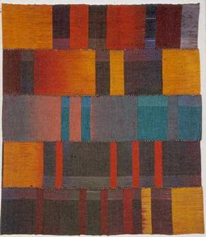 "Memories, strip woven, double-weave dyed, cotton, 35 1/2 x 30 1/4"", 1990"