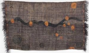"Abolitionists Tale, raffia cloth, dye, ground pigment, hand stitched, with linen paper, 39 x 69"", 2015"