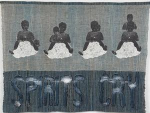 "Spirits Cry, woven linen and cotton, indigo dye, copy transfer, devoré, 52 x 36,"" 2000"