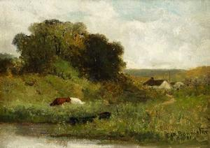 "Edward Bannister Cows by the Stream, 1881, oil on canvas, 10x14"" Robinson Family Collection"