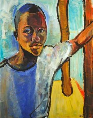 Preston Sampson Still Standing ca. 2011 acrylic on canvas 28 x 34, Robinson Family Collection