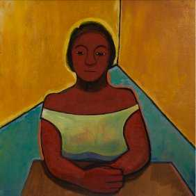 "Thelma Johnson Streat, Seated Woman, 1950, oil on masonite, 30x30"" Robinson Family Collection"