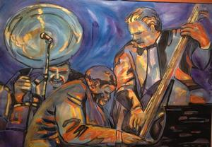Curlee R. Holton Jazz Jam 2003 acrylic/watercolor on paper 30 x 22