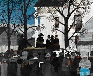 "Horace Pippin, John Brown Going to His Hanging, 1942, oil on canvas, 24 1/8 x 30 1/4"" Pennsylvania Academy of the Fine Arts: John Lambert Fund Photo: of the Pennsylvania Academy of the Fine Arts"