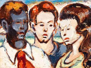 "Claude C. F. Clark, Brothers & Sister, 1949, oil on board, 12 x 9""  Woodmere Art Museum: Museum purchase, 2011"