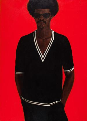 "Barkley L. Hendricks, J. S. B. III, 1968, oil on canvas, 48 x 34 3/8"" Pennsylvania Academy of the Fine Arts: Gift of Mr. and Mrs. Richardson Dilworth. Photo: courtesy Pennsylvania Academy of the Fine Arts"