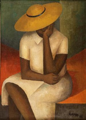 "Girl with Yellow Hat, 1936, oil on burlap, 36 1/2 x 26"" Courtesy of the Reginald F. Lewis Family Collection © Estate of Norman W. Lewis; Courtesy of Michael Rosenfeld Gallery LLC, New York, NY"