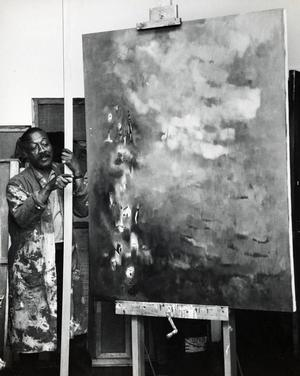 Norman Lewis in the studio Estate of Norman W. Lewis; Courtesy of Michael Rosenfeld Gallery, New York