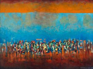 "Title Unknown (March on Washington), 1965, oil on fiberboard, 35 1/4 x 47 1/2"" L. Ann and Jonathan P. Binstock © Estate of Norman W. Lewis; Courtesy of Michael Rosenfeld Gallery LLC, New York, NY"