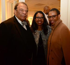 Andrew Young, Andrea Young-Thomas, Mary Schimdt Campell at Bearden exhibition preview, Alan Avery Art Company