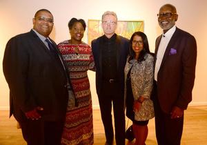 Tallal El Boushi (left), former chair of Bearden estate and nephew of Nanette Bearden, El Boushi's wife, Alan Avery, Andrea Young-Thomas and Jerry Thomas at Bearden exhibition preview, Alan Avery Art Company