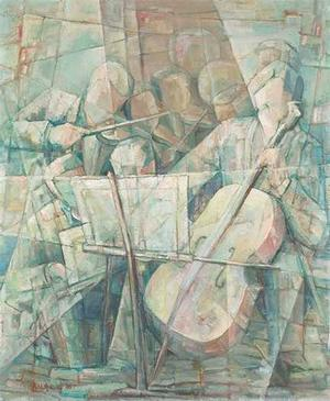 Delilah Pierce, Cellist, 1957, oil on board