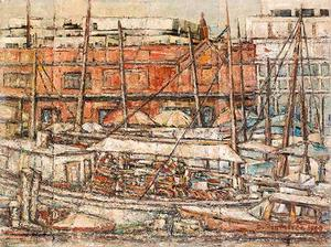 DC Waterfront, Maine Avenue, 1957, oil on board, 173/4 x 231/2