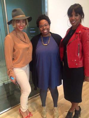 Beyoncé, Hammer Museum assistant curator Jamillah James and Kelly Rowland at the Hammer Museum.  Courtesy, Hammer Museum