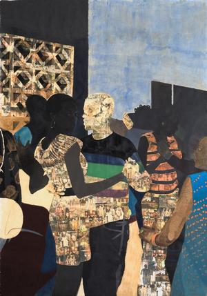 Njideka  Akunyili Crosby, I Refuse to be Invisible, 2010, ink, charcoal, acrylic and transfers on paper, 120 x 84.