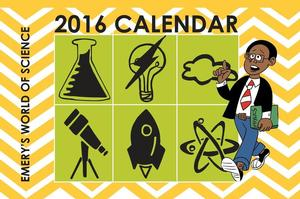 Emery's World of Science calendar cover