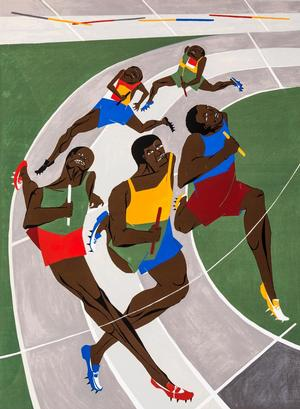 "Jacob Lawrence, Olympic Games, 1971, screenprint on Schoellers Parole paper 42 1/2 x 27 1/2"" (paper). © 2015 The Jacob and Gwendolyn Knight Lawrence Foundation, Seattle/Artists Rights Society (ARS) New York"