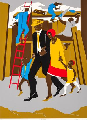 "Jacob Lawrence, The Builders (Family), 207/300, 1974, silk screen on wove paper, 34 x 25 3/4"" (paper). © 2015 The Jacob and Gwendolyn Knight Lawrence Foundation, Seattle/Artists Rights Society (ARS) New York"