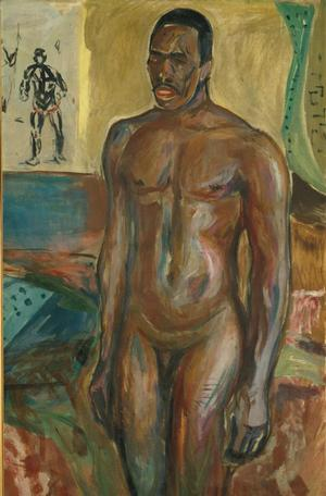 Edvard Munch, Cleopatra and Standing Naked African, 1916 (right half of divided painting), oil on canvas, Munch Museum, Artists Rights Society, NY