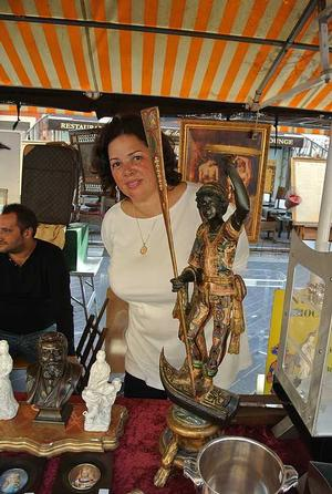 Adrienne Childs at flea market in Nice, France