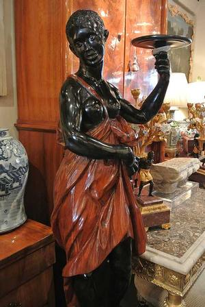 Adrienne Child's documentation of black figures in European decorative arts includes this female blackamoor object