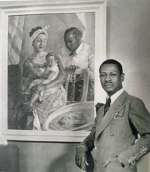 James A. Porter with his painting, The Family, 1940 (Photo: Coni Porter Collection)