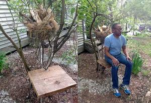 Fo Wilson, Nesting Chair, tree branches, reed, grass, found materials, mixed media and audio (8:57). 54 x 18 x 15