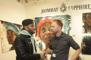Swizz Beatz and Bombay Sapphire Artisan Series Finale Winner Aron Belka at the SCOPE Art Show in New York on March 3, 2016.