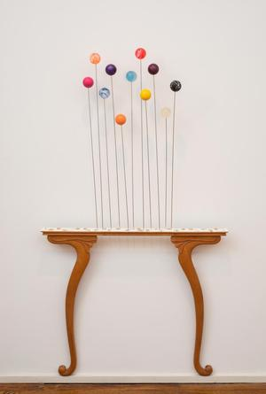 Fred Holland, Henry XV, 2015, Wood, steel rods, plaster, locksmith keys, and toy balls, 57 x 30 x 4 inches. Courtesy Tilton Gallery, New York.