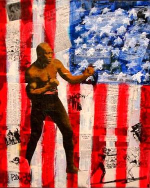 Pellom McDaniels, Jack Johnson collage, mixed mediums