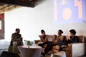 Forum NY 2015, Global Black Subjectivities: Here and Now with (l-r) art critic Chika Okeke-Agulu, Brooklyn museum curator Rujecko Hockley, curator Naima J. Keith (then the Studio Museum in Harlem), artist Julie Mehretu. Courtesy of 1:54. Photo: Katrina Sorrentino