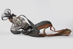 "Adejoke Tugbiyele, Homeless Hungry Homo, 2014. Palm stems, steel, wire, metal, wood, U.S. dollar bills, 29 7/8 x 59 7/8 x 23 5/8"". Brooklyn Museum"
